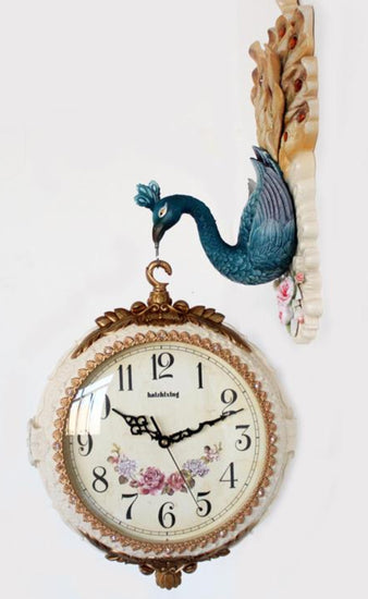Modern Fashion peacock double faced mute wall clock - My Aashis