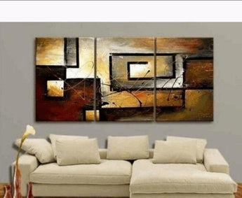 3 PC Hand Painted Modern Oil Paintings For Living Room Stretched and Framed Ready to Hang