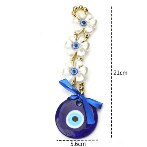 21 cm Decorative Three 3 Petals Evil Eye Pendant Amulet for Car Rear View Mirror Decor Ornament Accessories/Good Luck Charm Protection Interior Wall Hanging Showpiece