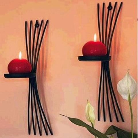 2pcs/pack Vintage Wall Casting Metal Candle Holders