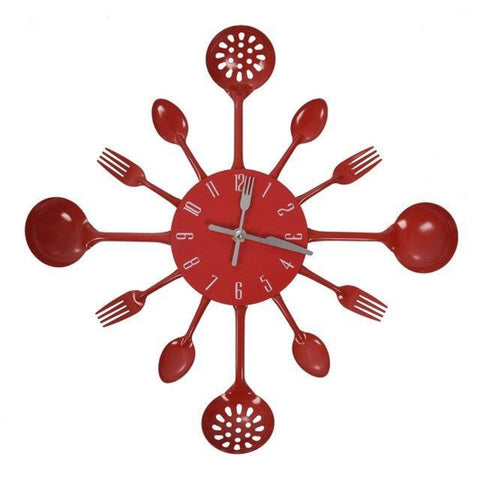 Red Cutlery Wall Clock - My Aashis
