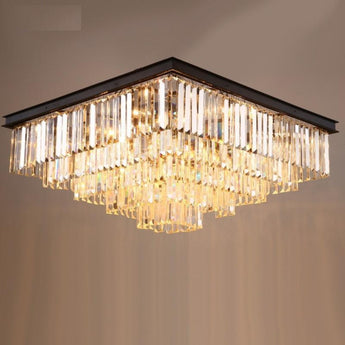 American Crystal Ceiling Lamp For Living Room Luxury Rectangle Modern