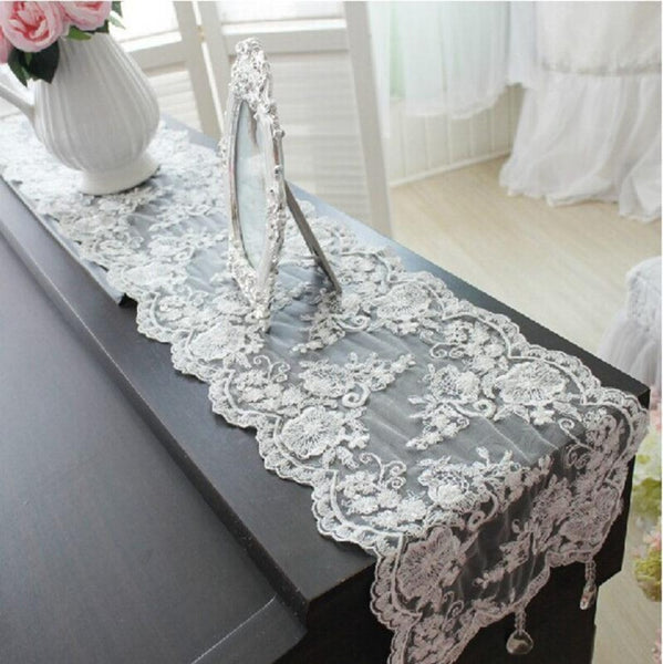 luxury table cloth white lace crystal pendant table runner