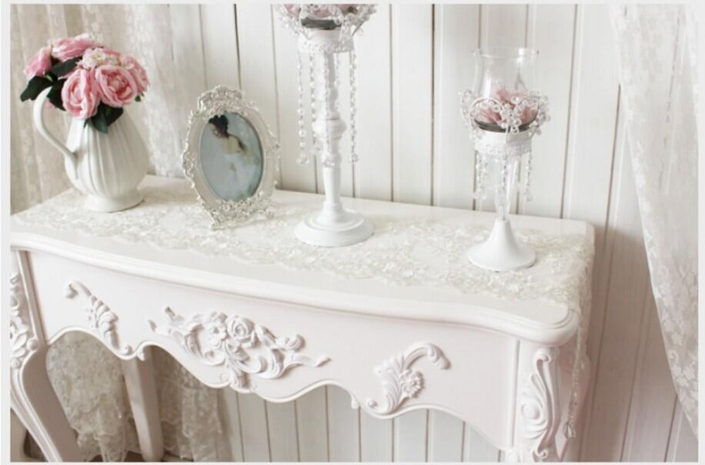 ... Luxury Table Cloth White Lace Crystal Pendant Table Runner ...