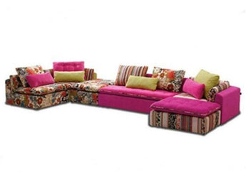 Modern Rustic Floral Print Fabric Sectional Sofa Set - My Aashis