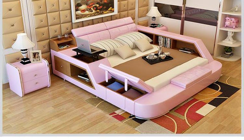 Pink Stuff Side Leather Bed For Room Furniture - My Aashis