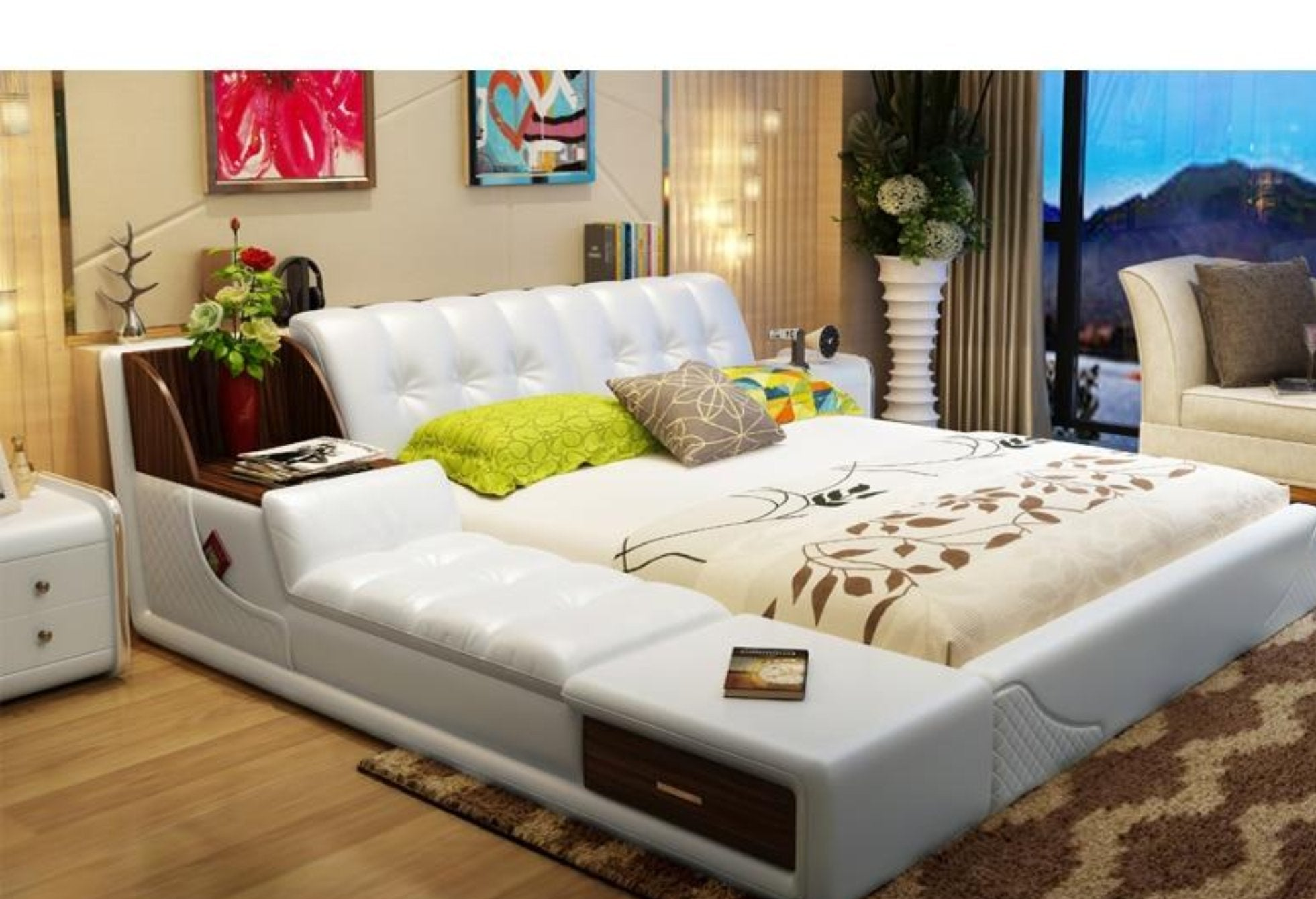 Modern Soft Genuine Leather Beds with storage   My Aashis
