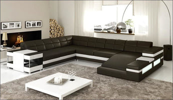 Royal Black Sectional Spacious Sofa Set - My Aashis