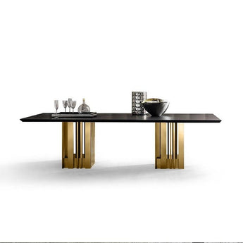 Metal Bar Base Rectangular Dining Table With Marble Top - My Aashis