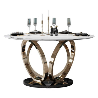 Attractive Flower Base Designed   Metal Round Dining Table