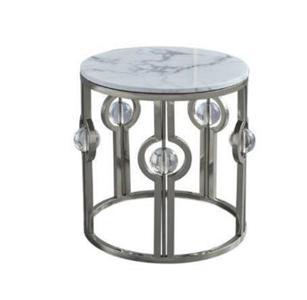 Stylish Round Design Crystal Embedded Marble Coffee Table - My Aashis