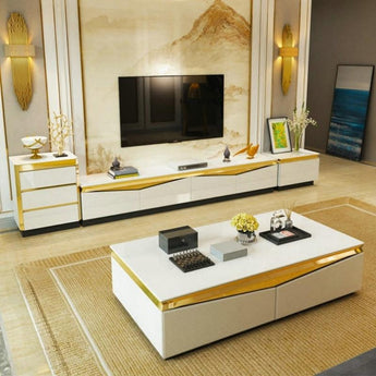 Gold Colored Steel Cabinet Tv Stand Coffee Table - My Aashis