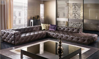 Italian Leather Sectional Sofa For Living Room-My Aashis