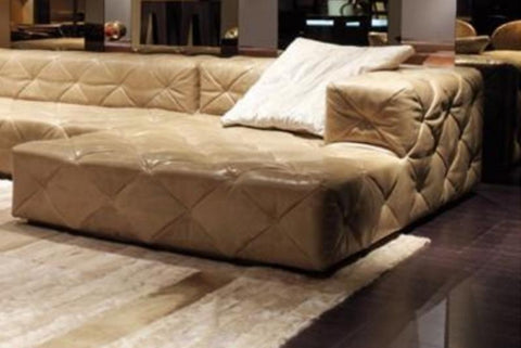 Luxury  Light Leather Living Room Sectional Sofa - My Aashis