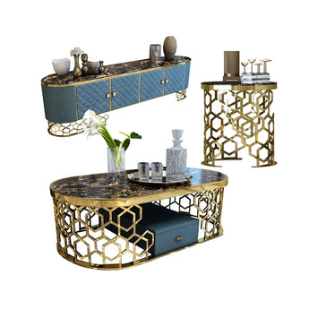 Attractive Strong Marble Top Coffee Table/Side Table With Golden Metal Base - My Aashis