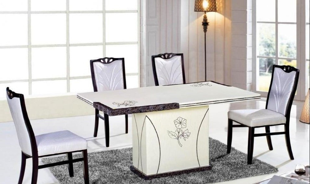 Royal White Rectangular Marble Dining Table My Aashis