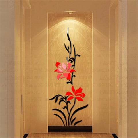 3D Acrylic Creative Flower Pattern Wall Stickers for Living Room - My Aashis