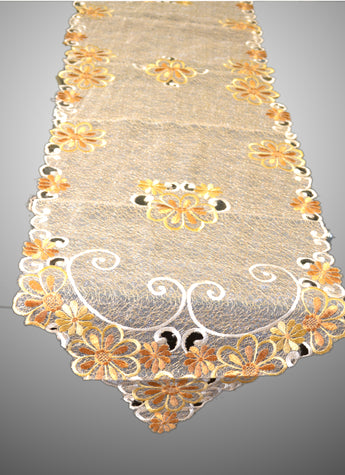 Table Runner and Dresser Scarves Embroidered Floral 15 × 68 Inch