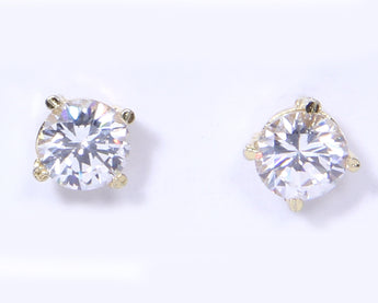 Silver Cubic Zirconia Stud Earrings Round - My Aashis