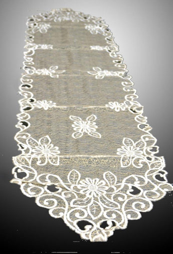 Vintage Cutwork Table Runner and Dresser Scarves 15 × 66 Inch