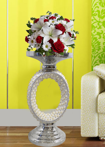 Decor Fab Home Polyresin Vase with Natural Pearl, LargeGifts - My Aashis