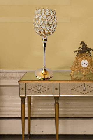 Aluminum Crystal Golden Candle Stand