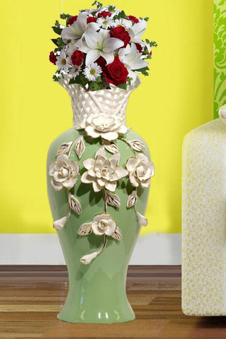 Tall Green Ceramic Flower Vase with Handmade Porcelain White Flowers - My Aashis