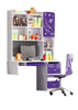 5 Pcs Loft Bedroom Set Kids Table And Chair Wood Kindergarten Furniture -Purple Theme