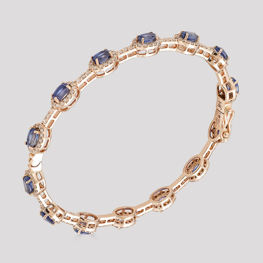 Olivia Bangle – Kyanite + Rose Gold
