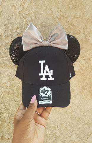 Mouse Ear Team Hat- Black LA Dodgers