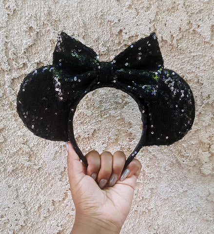 Black Sequin Ears (LED Lights optional)