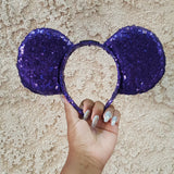 Purple Sequin Ears (LED Lights are optional)