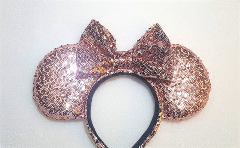 Rose Gold Sequin Ears (LED Lights optional)