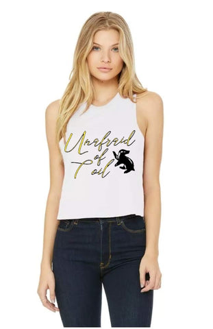 Unafraid of Toil Ladies Cropped Racerback Tank
