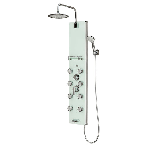 PULSE ShowerSpas Lahaina ShowerSpa 1030 White Glass Shower Panel   Cloud 9 Shower  Heads