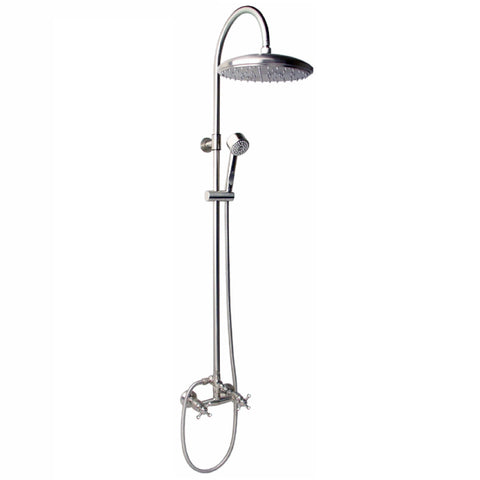 "Outdoor Shower Co CAP-113DDS-12 12"" Shower Head, Cross Handle Valve"