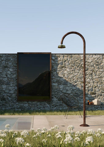 "Outdoor Shower Co FTA-C50R-HC Hot & Cold Copper Shower Unit - 8"" Brass Shower Head"