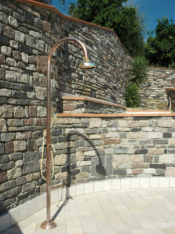 "Outdoor Shower Co FTA-C50R-HCHS Hot & Cold Copper Shower Unit - Brass Hand Spray - 8"" Brass Shower Head"