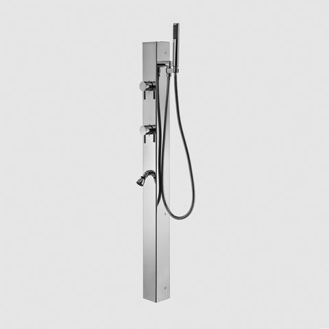 "Outdoor Shower Co 38"" Wall Mount - 3.5"" Square - Foot Shower - Hand Spray 60"" Flexible Hose FTA-P9-WMC-FSHS"