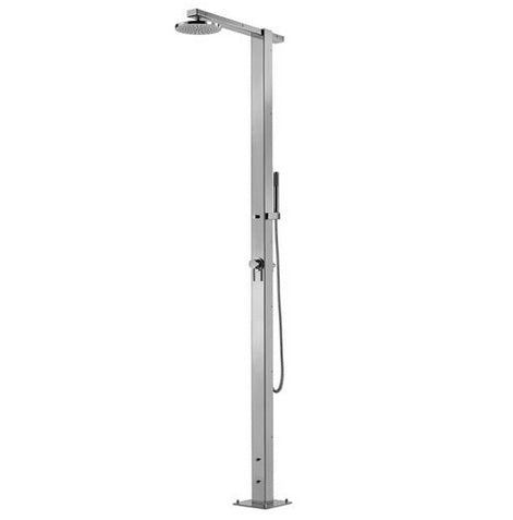 "Outdoor Shower Co 8"" Square Shower Head - Hot & Cold - Hand Spray with 60"" Flexible Hos- 316 Marine Grade SS  FTA-SQ86-HCHS"