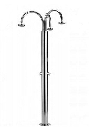 "Outdoor Shower Co. FTA-C140/3 - 5"" Shower Heads, Handles (3) Cold or Pre-Mix- 316 Marine Grade SS"