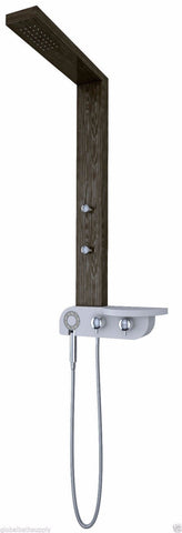 Nezza 4-Jet Bali Wood Grain Rain Shower Panel NPA-015-001-BG - Cloud 9 Shower Heads