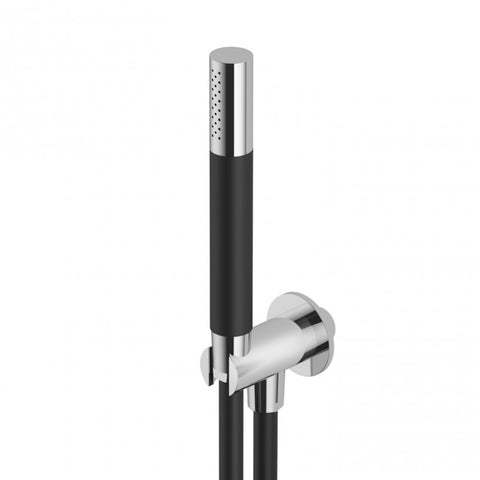 "Outdoor Shower Co FTA-SK-HS ""Waterline"" Stainless Steel/Black Resin Hand Spray, Black PVC Hose & Wall Coupling"