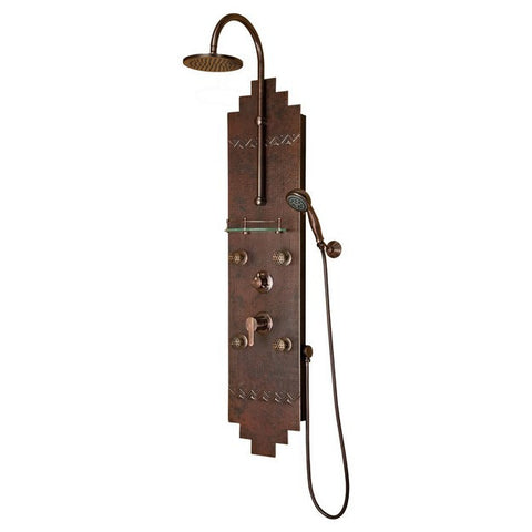 PULSE ShowerSpas Navajo ShowerSpa 1018 Hammered Copper ORB Shower Panel