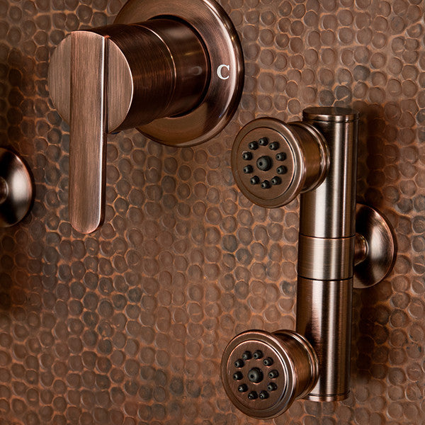... PULSE ShowerSpas Mojave ShowerSpa 1016 Hammered Copper ORB Shower Panel    Cloud 9 Shower Heads ...