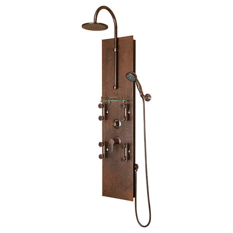 PULSE ShowerSpas Mojave ShowerSpa 1016 Hammered Copper ORB Shower Panel - Cloud 9 Shower Heads