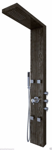 Nezza 4-Jet Ted Wood Grain Rain Shower Panel NPA-001-001-BG - Cloud 9 Shower Heads