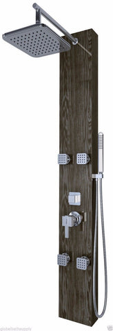 Nezza 4-Jet Otis Wood Grain Rain Shower Panel NPA-012-001-BG - Cloud 9 Shower Heads