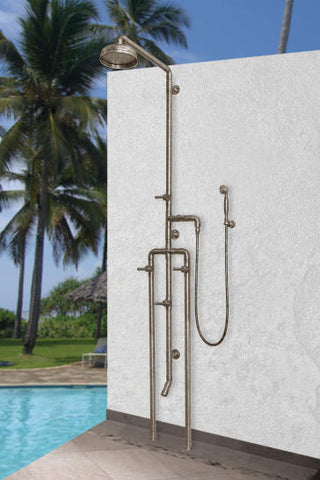 "Sonoma Forge WB-SHW-1080 Exposed Outdoor Shower Unit w/8"" Rain Head, Footwash and Handspray"