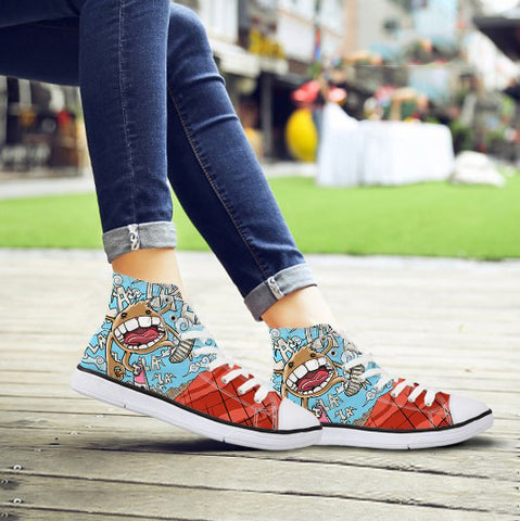 Trendy Women High Top Canvas Shoes Cute Cartoon Graffiti Printing